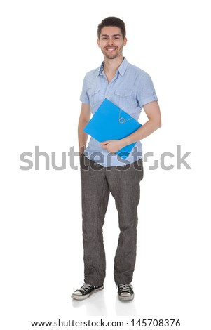 Young Happy Student  Isolated Over White Background - stock photo