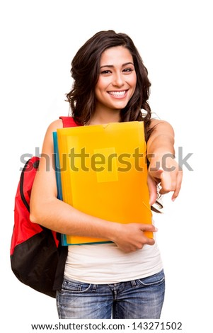 Young happy student pointing front - stock photo