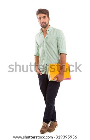 Young happy student posing isolated over white background - stock photo