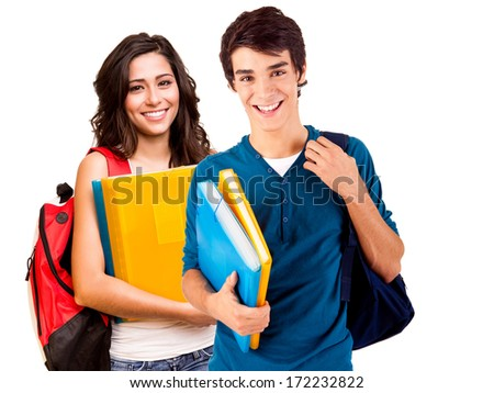 Young happy students over white background - stock photo