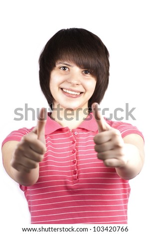 Young happy teenager showing ok isolated on white background