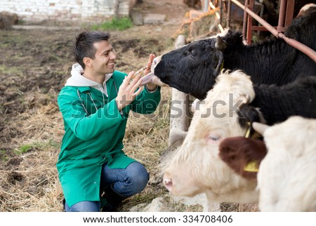 Young happy veterinarian holding syringe and cuddle bull on farm - stock photo