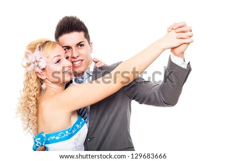 Young happy wedding dancing, isolated on white background. - stock photo