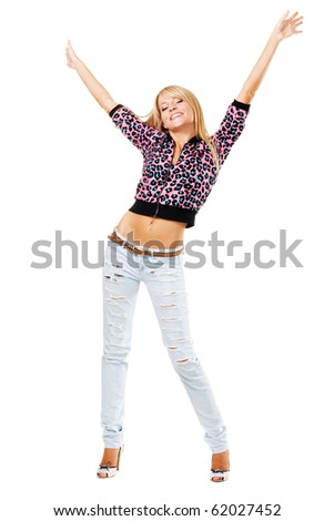 Young happy woman against white background - stock photo