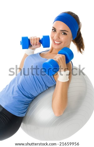 Young happy woman doing fitness exercise, isolated on white - stock photo