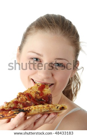 Young happy woman eating pizza, isolated on white