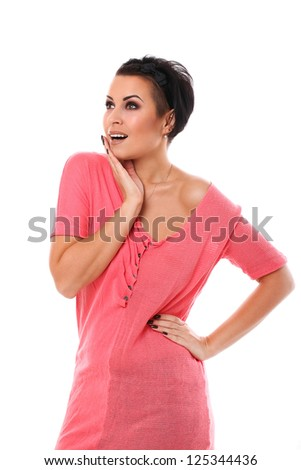 Young happy woman isolated over white background