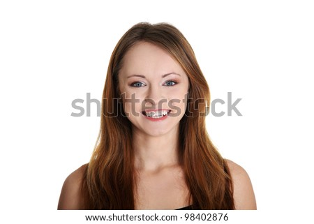 Young happy woman smiling. - stock photo