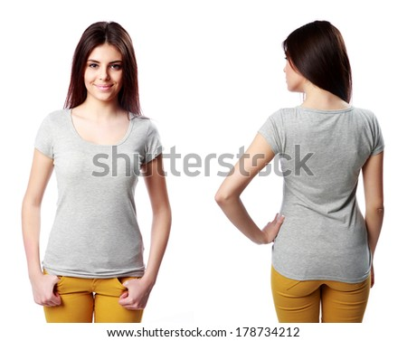 Young happy woman standing on white background - stock photo