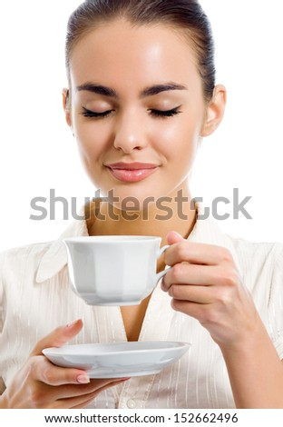 Young happy woman with cup of coffee, isolated over white background