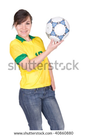 young happy woman with football. over white background - stock photo
