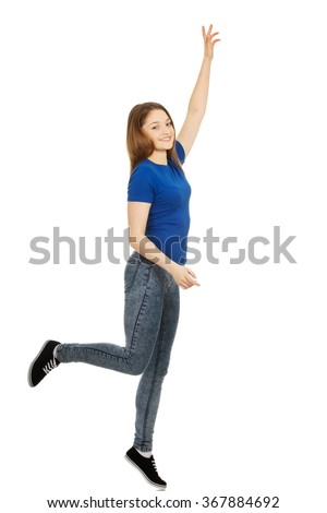 Young happy woman with hand up. - stock photo