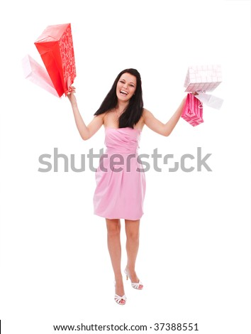 Young happy woman with shopping bags - stock photo
