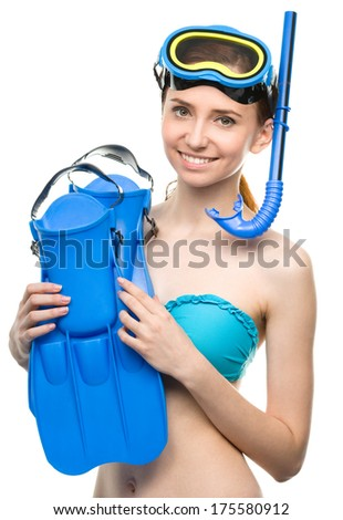 Young happy woman with snorkel equipment, isolated over white - stock photo