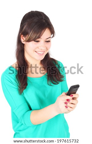 young happy woman with the mobile phone