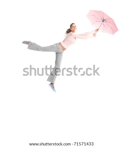 Young happy woman with umbrella flying. Isolated over white background