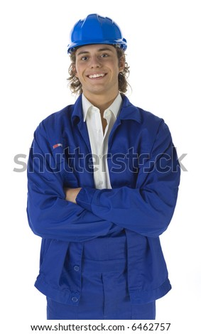 Young happy worker looking at camera. Isolated on white background. Front view - stock photo