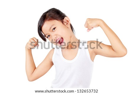 Young healthy girl flexing her muscles.Isolated in white background. - stock photo