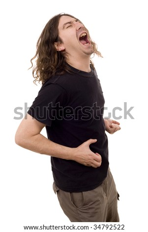 young heavy guy dancing with hard expression white isolate - stock photo