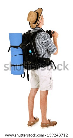Young hiker man tourist with binocular, isolated on white - stock photo