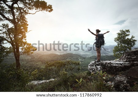 Young hiker with backpack standing with raised hands on a cliff's edge and looking over wild tropical valley - stock photo