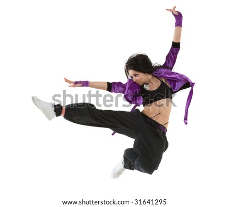 Young hip hop dancer jumping isolated on white background