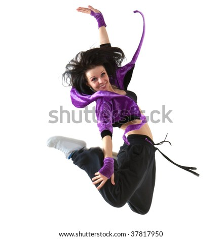 Young hip hop dancer jumping on white background