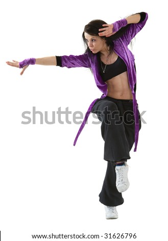 Young hip hop dancer posing isolated on white background