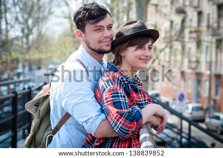 young hipster lovers in the city - stock photo