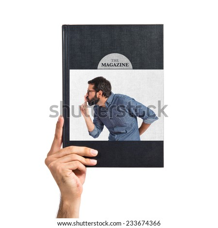 Young hipster man making silence gesture - stock photo