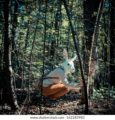 young hipster rabbit mask woman in the woodland autumn - stock photo
