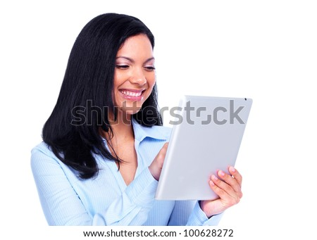 Young hispanic business woman with tablet computer. Isolated on white background.