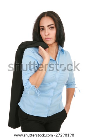 Young Hispanic Businesswoman on Isolated White - stock photo