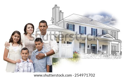 Young Hispanic Family Over House Drawing and Photo Combination on White. - stock photo