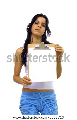 Young hispanic girl holding a blank paper - isolated over white