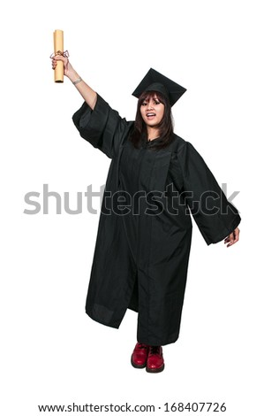 Young hispanic latino woman in her graduation robes - stock photo