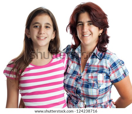 Young hispanic woman and her teenage daughter hugging isolated on white - stock photo
