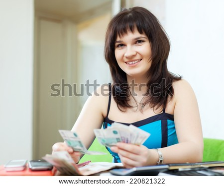 Young housewife calculates the family budget at  home