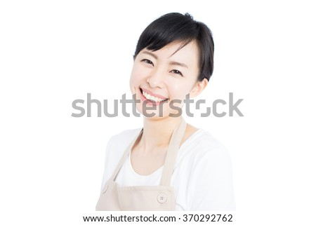 young housewife with apron, isolated on white background - stock photo