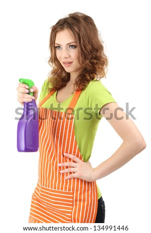 Young housewife with sprayer, isolated on white