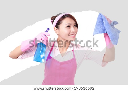 young housewife woman mother cleaning,  asian - stock photo