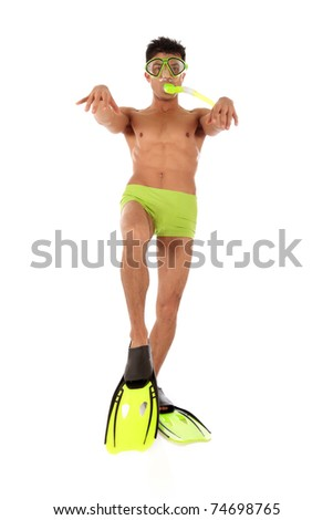 Young humorous Nepalese swimmer male in swimsuit with flippers, goggles and snorkel and with the foot bent in a knee, the arms raised up. Studio shot. White background - stock photo