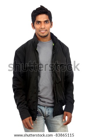 young indian man posing to the camera. - stock photo