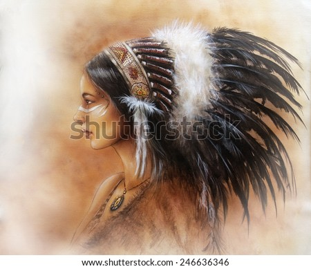 young indian woman wearing a big feather headdress, a profile portrait on structured abstract background profile portrait  make up artist - stock photo