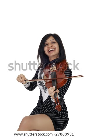 Young Indian woman with violin isolated over white - stock photo