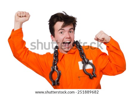 Young inmate with chains isolated on the white - stock photo