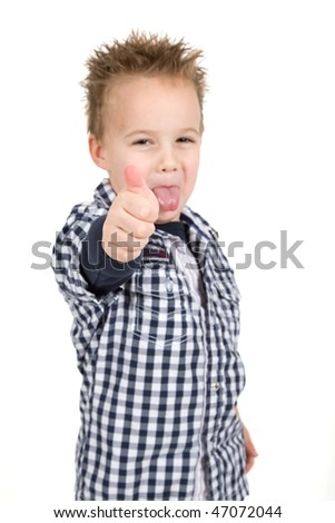 Young is giving a thumb up - stock photo
