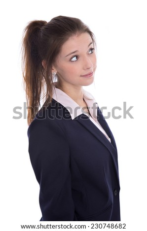 Young isolated pretty pensive businesswoman thinking about her future looking sideways. - stock photo