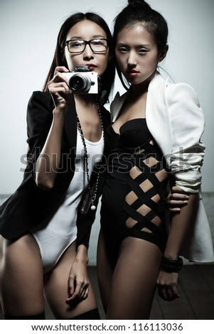 Young japan fashion women with camera. - stock photo