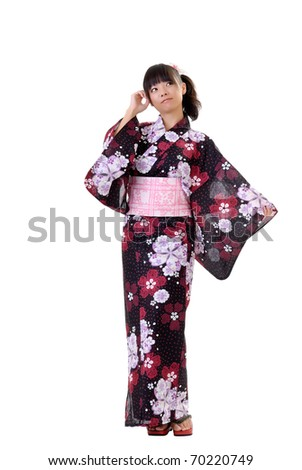 Young japanese girl in traditional clothes, full length portrait isolated on white. - stock photo